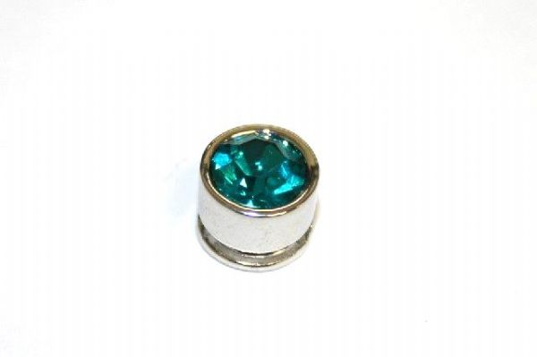 10pcs x 7mm*6mm Round metal bead with Teal rhinestone -- 1 hole -- S.A -- WC214 -- 5000007